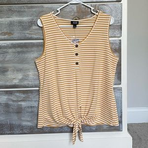 a.n.a Mustard and Ivory Striped Tie Tank